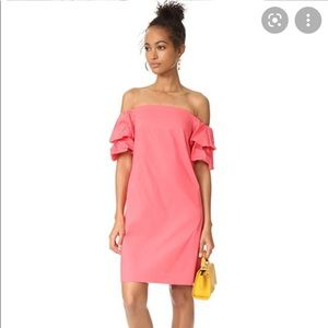 Off the shoulder dress with ruffle sleeve detail